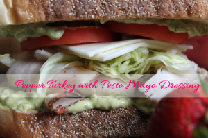 Cracked Pepper Turkey with Pesto Mayo Sandwhich