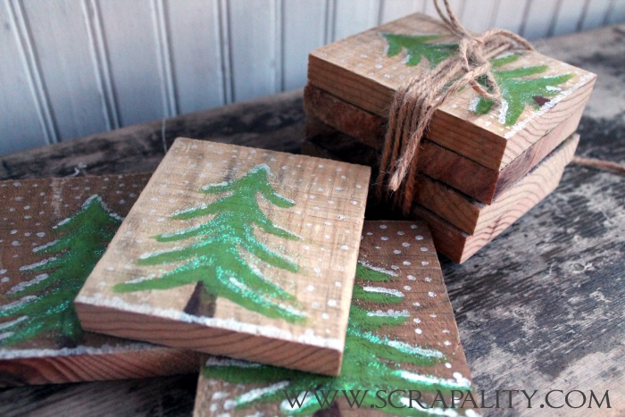 Pallet Wood Rustic Christmas Coasters by Scrapality