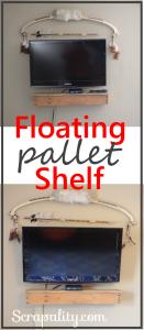 Floating Pallet TV Pallet Shelf