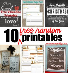 10 Random Free Printables