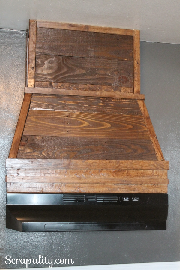Rustic Range Hood Using Pallet Wood Front