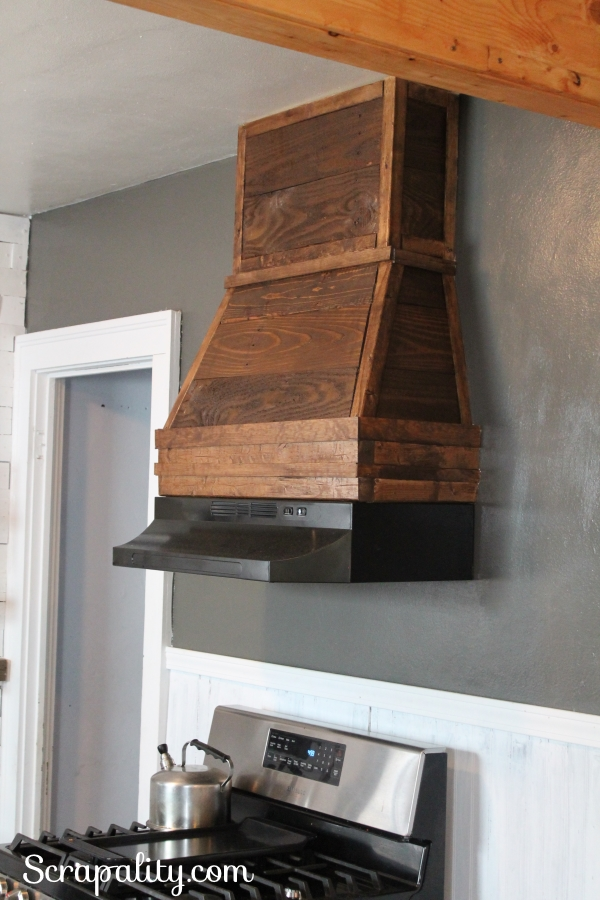 Rustic Range Hood Using Pallet Wood in the Kitchen