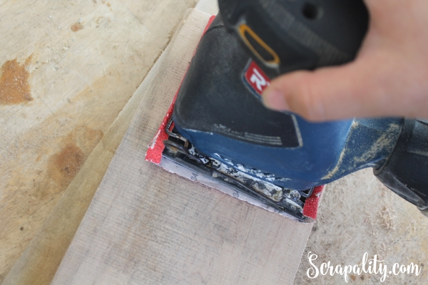 Sanding Pallet Wood with Palm Sander