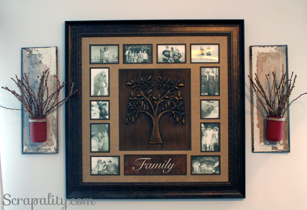 mason jar and reclaimed wood sconce with family frame