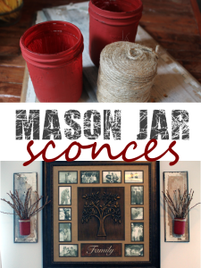 mason jar and reclaimed wood sconces