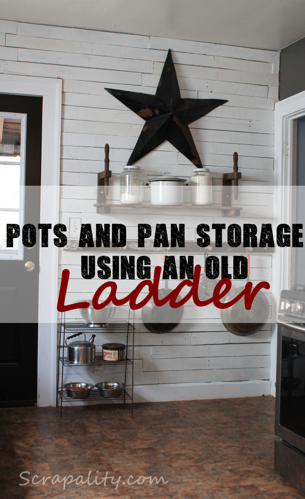 pots and pans storage using an old vintage ladder in the kitchen