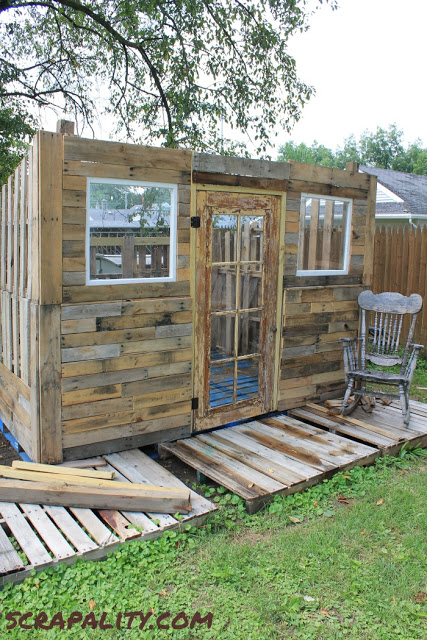 Rustic Shed Made From Pallets And Tin Cans Scrapality