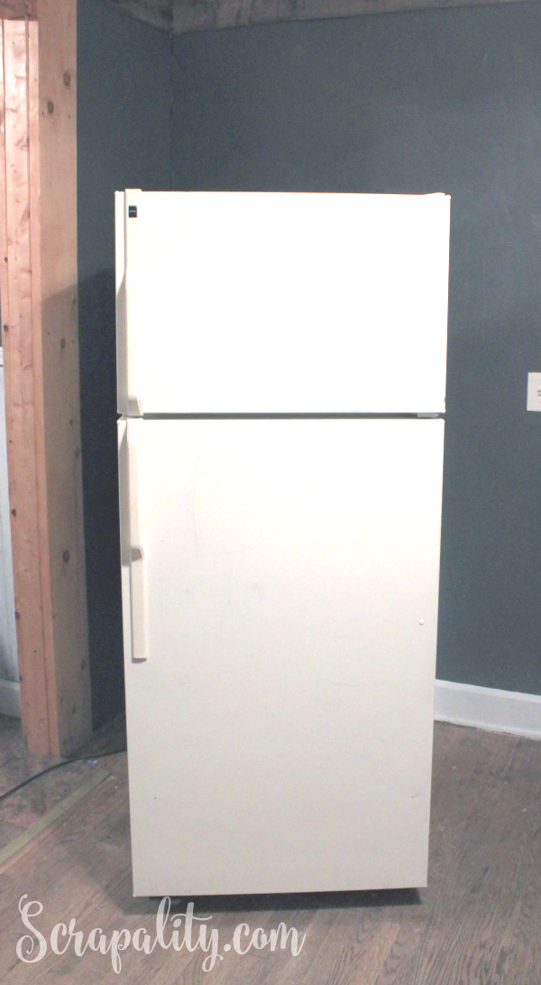 Chalk Paint Refrigerator and ChalkOla Markers Before