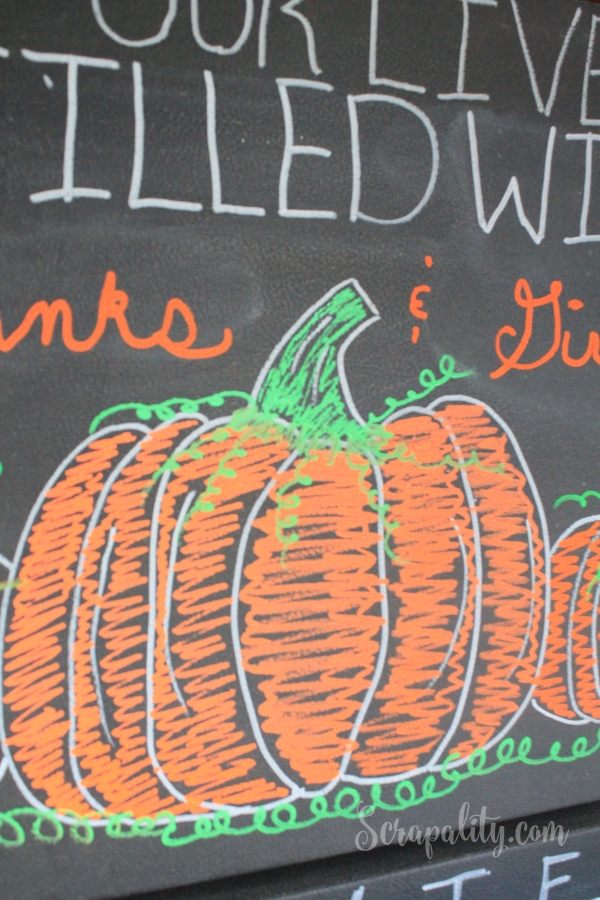 Chalk Paint Refrigerator with ChalkOla Markers Pumpkins