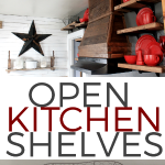 Open Shelving in the Kitchen with Red Plates Featured