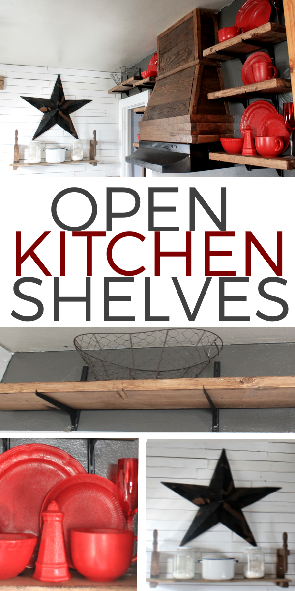 Open Shelving in the Kitchen with Red Plates