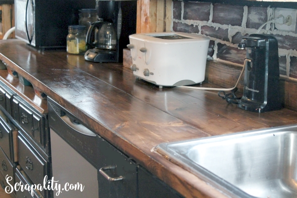 Adding a New Kitchen Cabinet and Coutnertop Walnut Stain