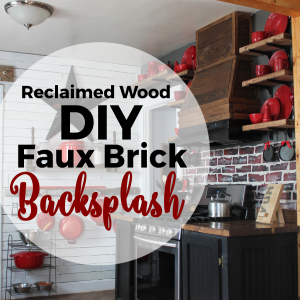DIY Brick Backsplash Using Reclaimed Wood and Paint