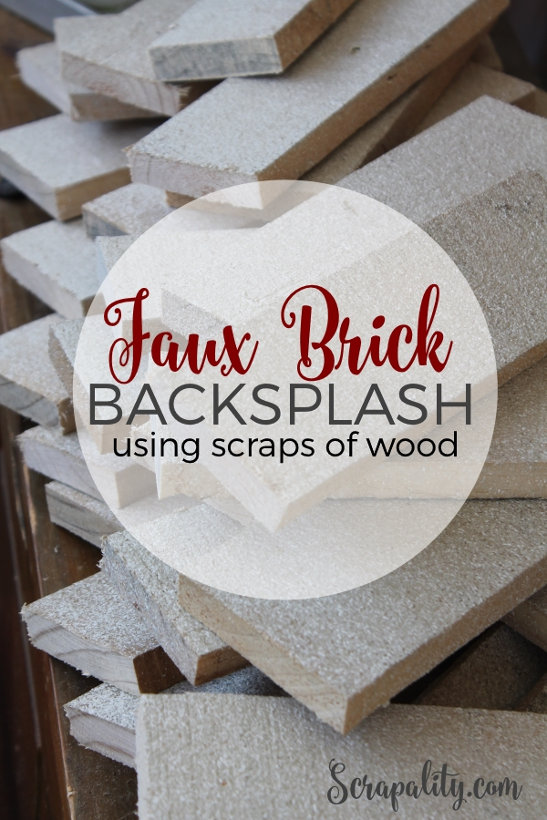 Faux Brick Backsplash for the Kitchen Using Scraps of Wood