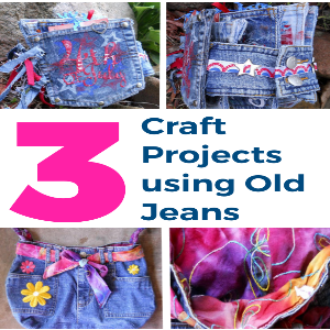 Three Craft Projects Using Old Jeans