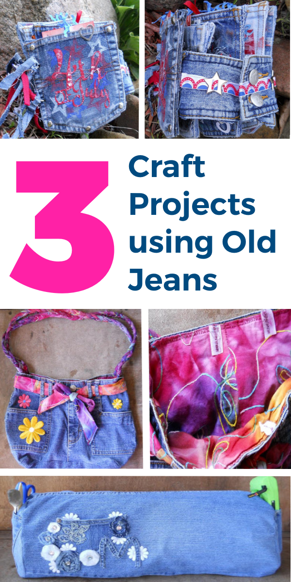 3 Craft Projects Using Old Jeans