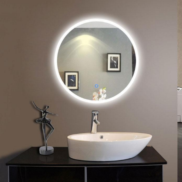 Round in LED Bathroom Silvered Mirror